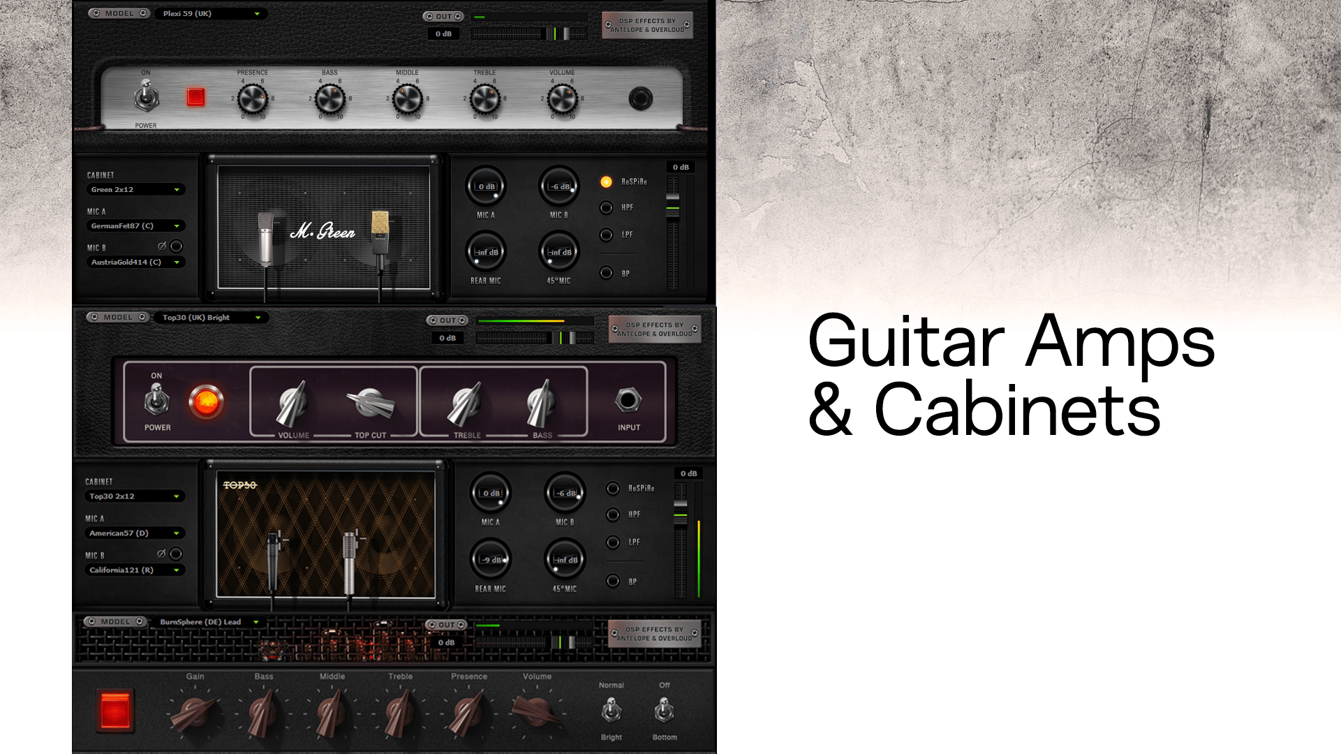 Guitar amps and cabinets